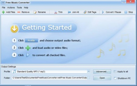 Free Music Converter default widnow