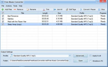 Free Music Converter imported songs