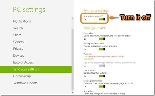 How To Turn Off Sync Settings In Windows 8