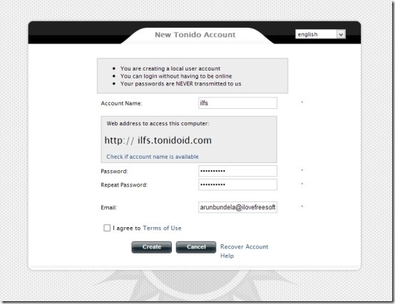 How to install and step up Tonido window