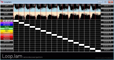 LoopJam free music mixer default window