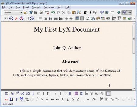 LyX free document processor default window