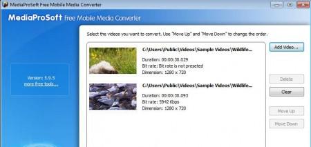 MediaProSoft Free Mobile Media Converter added videos
