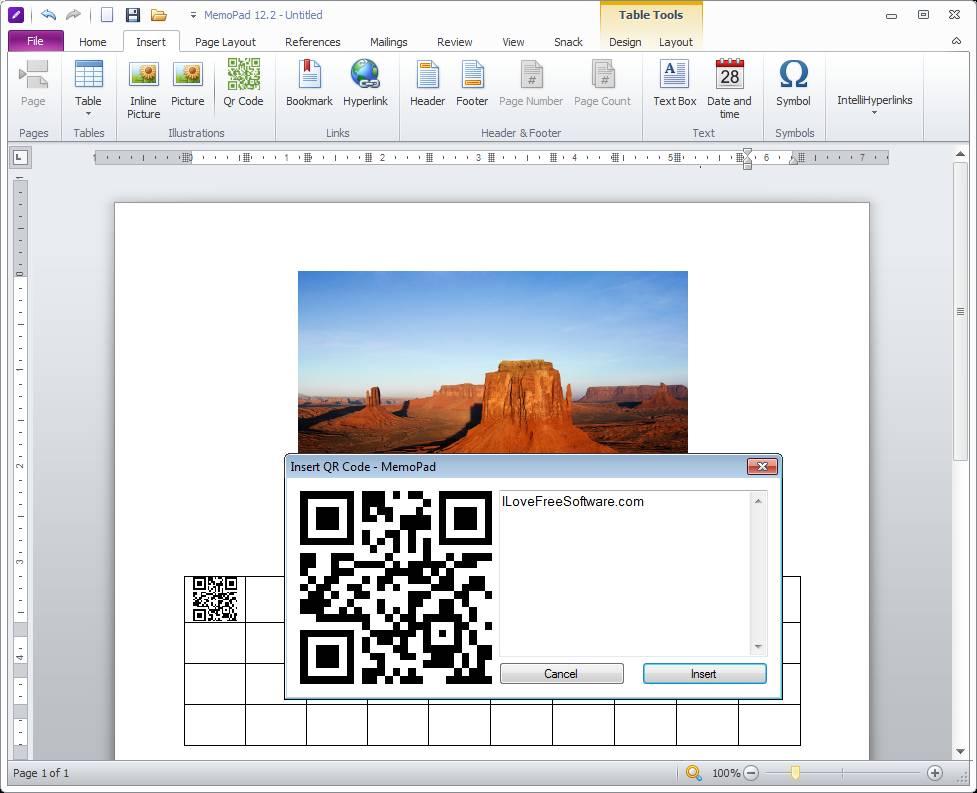 MemoPad image and table
