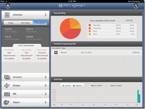 iPad Expense Manager App: Money Smart HD Lite