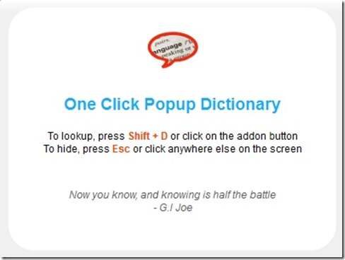 One Click Popup Dictionary add-on