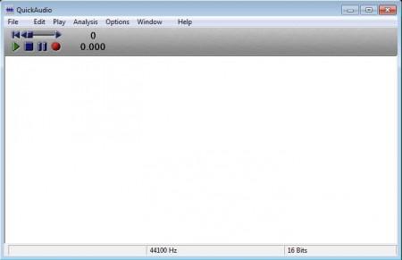 QuickAudio free audio editing software default window