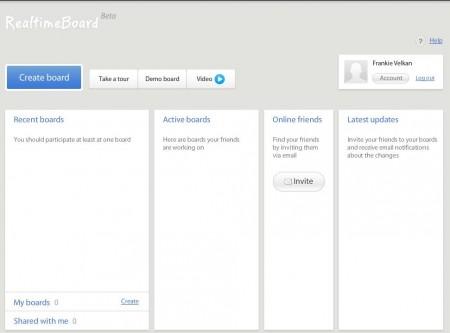 Realtime Board online whiteboard application default window