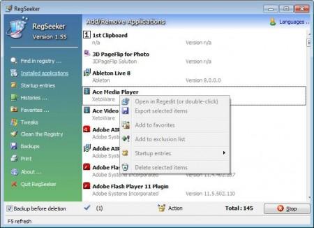 RegSeeker add remove software