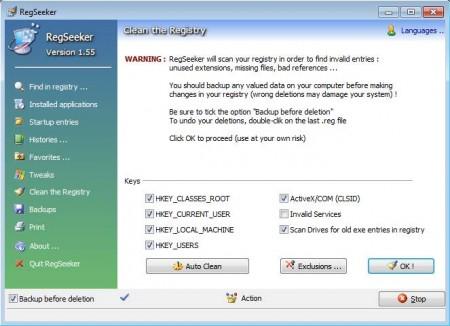 RegSeeker cleaning registry