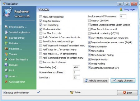 RegSeeker system tweaker