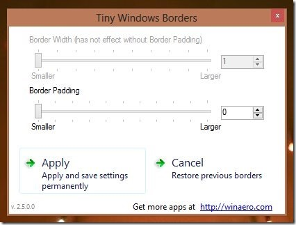 Resize Window Border Size in Windows 8 Tiny Windows Borders