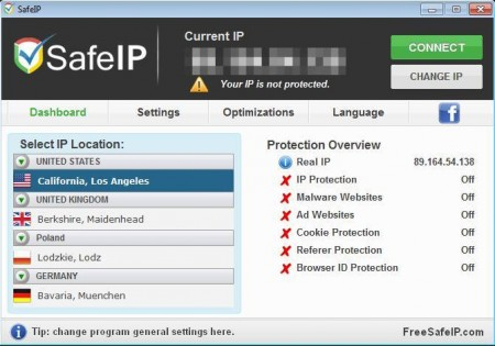 SafeIP to surf anonymously
