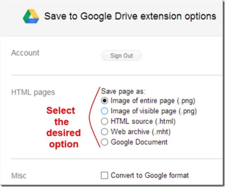 Save to google drive 03 save web pages
