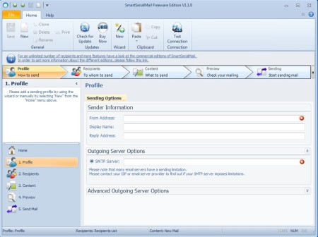 SmartSerialMail Free to create email newsletters default window