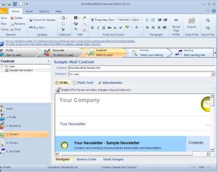 SmartSerialMail newsletter creator