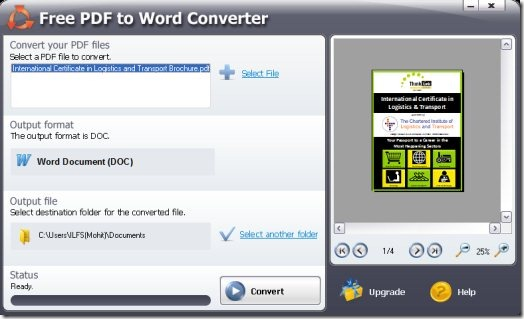 SmartSoft Free PDF To Word Converter