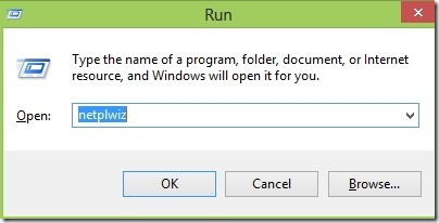 Steps to automatically logon in Windows 8