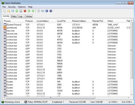 SterJo NetStalker free network monitoring software default window