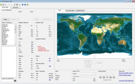 TLE Analyser satellite tracking software default window
