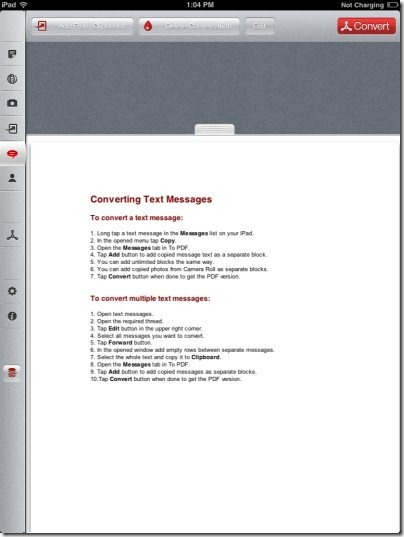 To PDF Messages