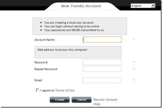 Tonido Desktop Server Details