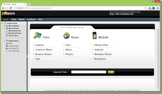 Tonido For Windows Access Your Files From Anywhere In The World