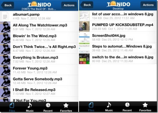 Tonido Music and videos