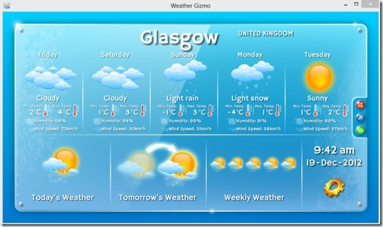 Weather Gizmo 02 free weather gadget for windows