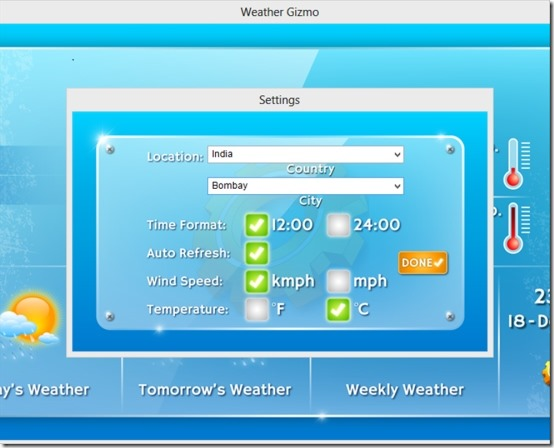 Weather Gizmo 03 free weather gadget for windows