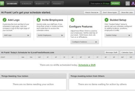WhenIWork online employee scheduling service default window