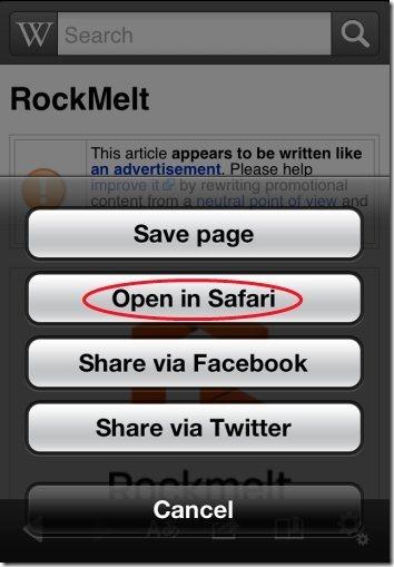 Wikipedia Open in Safari