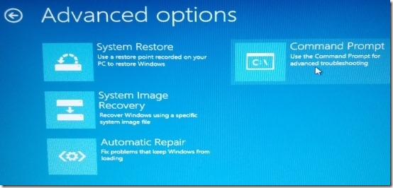 advanced options to reset password in windows 8