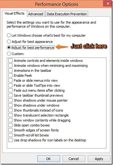 best performance disable animations in windows 8