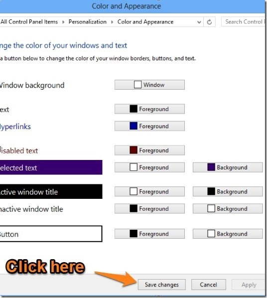 change color settings to enable transparency in windows 8