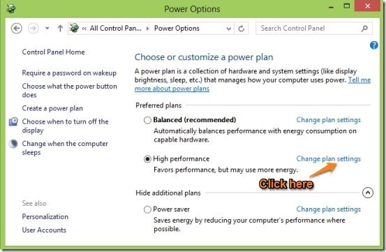 change power optionsplan settings in windows 8