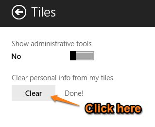 clear personal information from the tiles in Windows 8