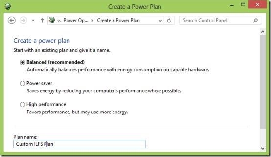 create custom power option in Windows 8