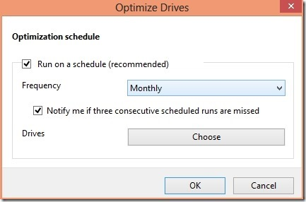 defragment drive in Windows 8 options
