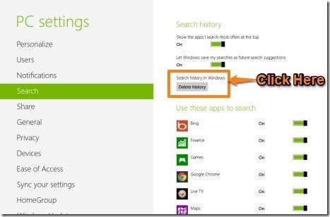 delete search history in Windows 8