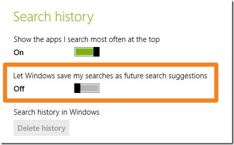 disable search history in windows 8