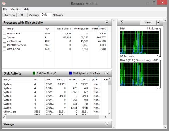 disk usage Resource Monitor in Windows 8