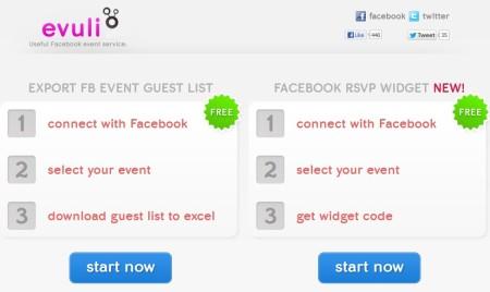 evuli to export Facebook event guests list default window