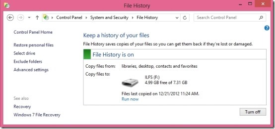 file history in windows 8 setup done