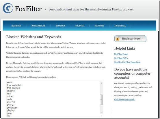 firefilter parental control add-on interface