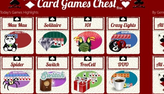 free card games chest