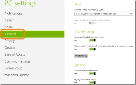 general settings in windows 8