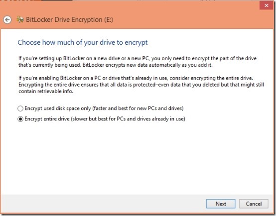 how much to encrypt files in windows 8 using bitlocker
