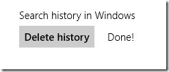 how to delete search history windows8
