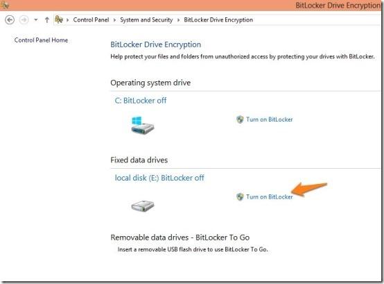 how to enable bitlocker in windows 8